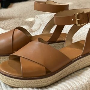 Michael Kors brown leather ankle strap sandal